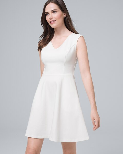 Tagr White Ponte Knit Fit And Flare Dress By Whbm
