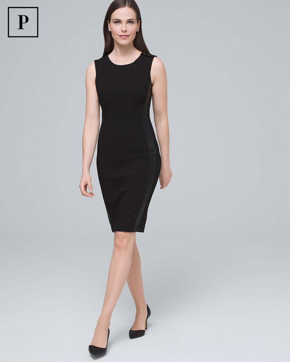 Petite Body Perfecting Faux Leather Trim Sheath Dress by Whbm