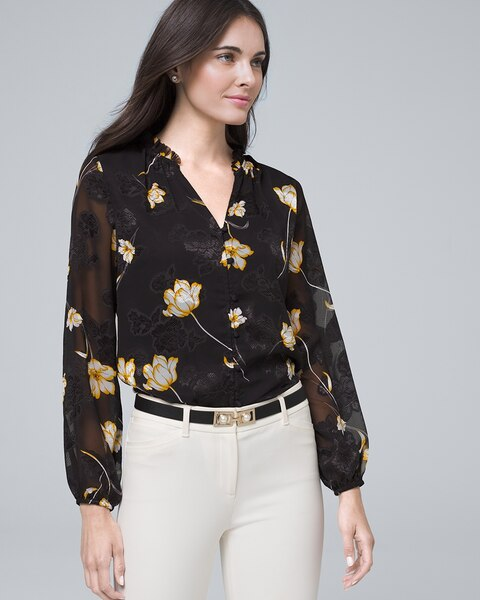 Floral Tie Neck Blouse by Whbm