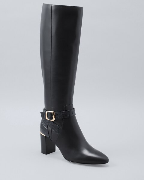 Leather \u0026 Croc-Embossed Tall Boots