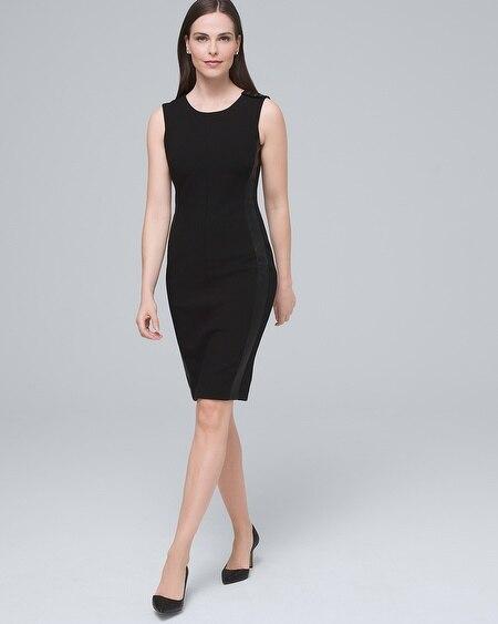 08d221438acba Body Perfecting Faux Leather-Trim Sheath Dress
