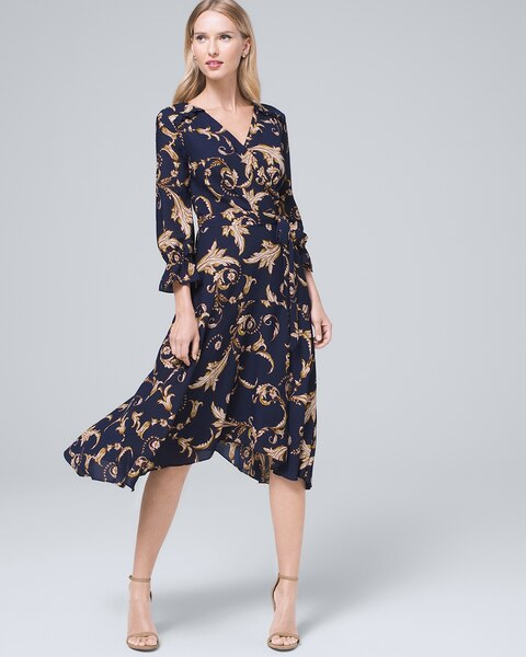 Surplice Printed High Low Dress With Removable Self Tie Belt by Whbm