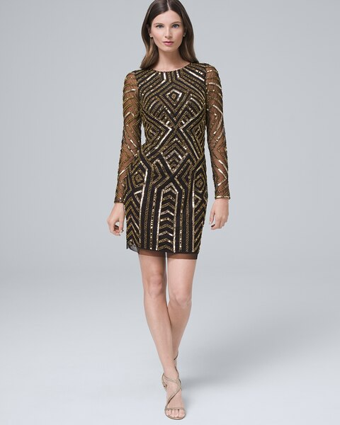 Hand Beaded Shift Dress by Whbm
