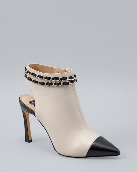 Colorblock Leather Shooties - White