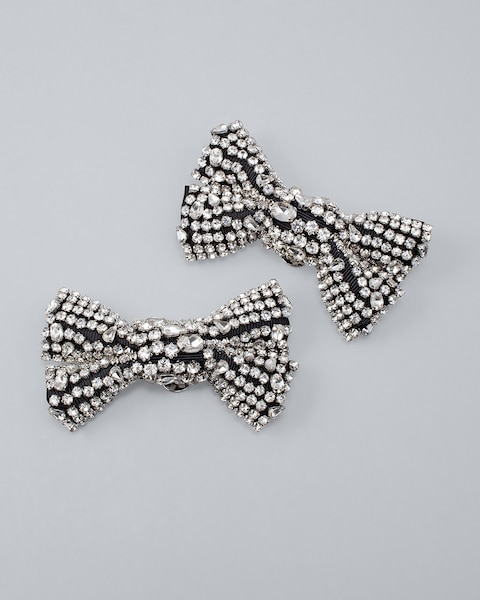 Glass Crystal Bow Shoe Clips