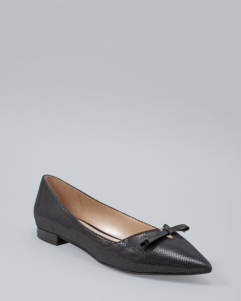Patent Bow Lizard-Embossed Flats