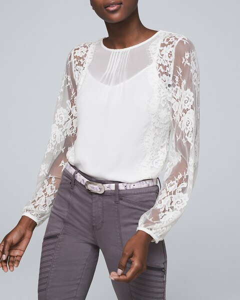 Lace-Sleeve Blouse