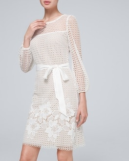 Together Plus Size 22 Occasion White Blue Lace Guipure Shift DRESS £85 Summer
