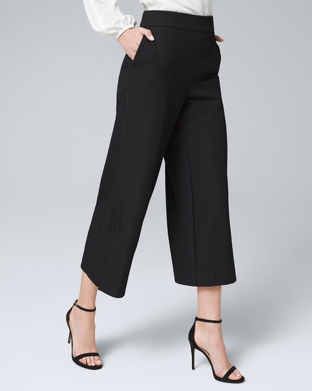 "BNWT M/&S Indigo Collection Blue White Print Wide Leg Crop Trousers Leg 19/"""