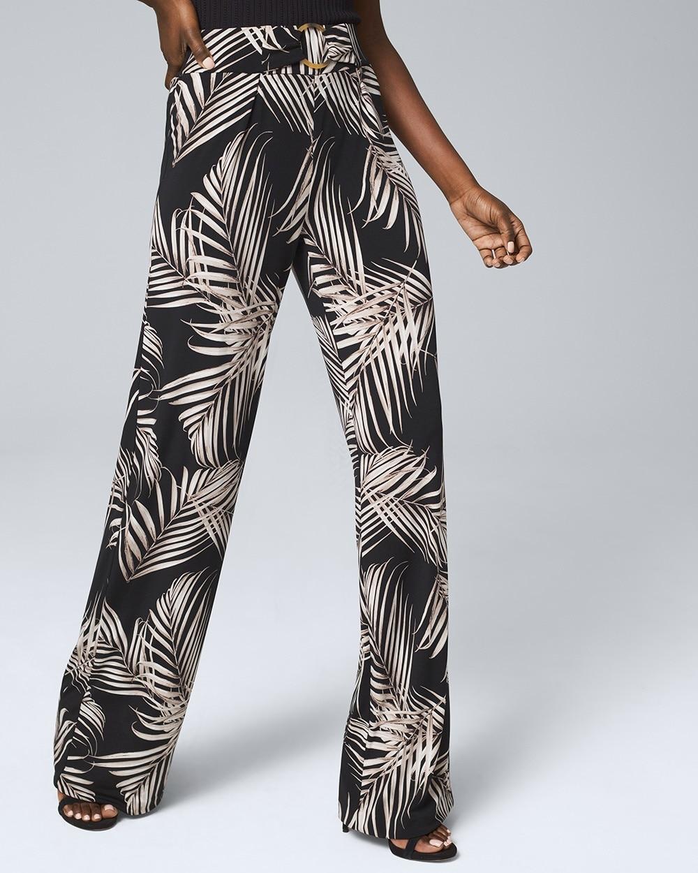 Palm Print Jersey Knit Wide Leg Pants White House Black Market