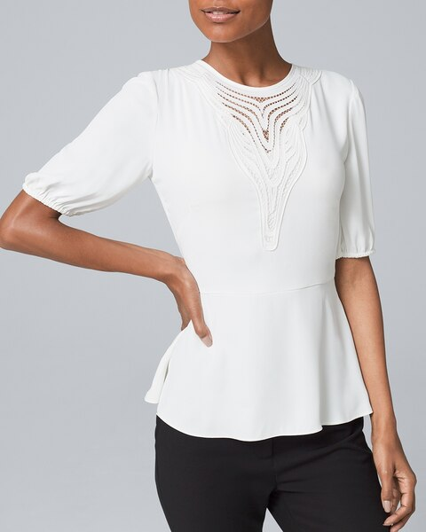 Country house blouse White with lace /& Biesen poultry