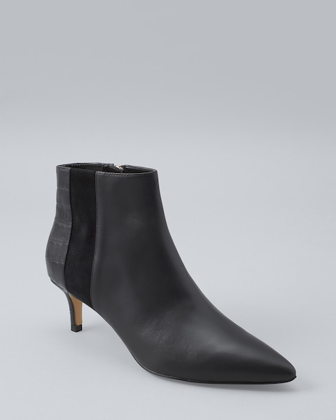 Leather Low-Heel Ankle Bootie - White
