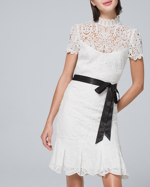 Lace Dress With Ribbon Belt