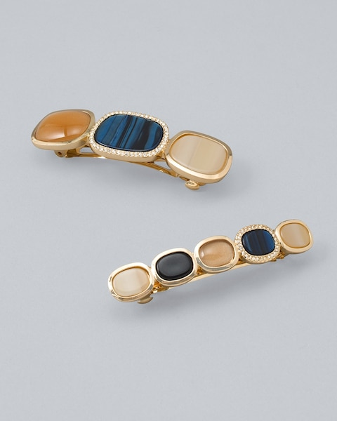 Tan, Blue & Pavé Hair Clips, Set of 2