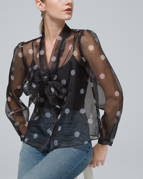 10 Black organza with white dots Small Medium or Large