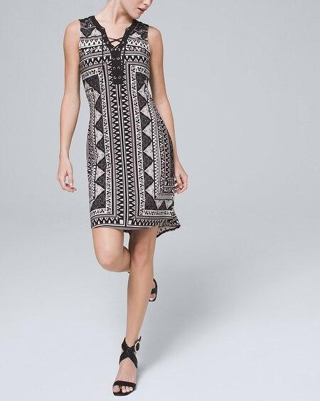 Black White Floral Print Slip On Mini Tie Back Full Skirt Summer Dress Sz XS White House Black Market teamvintageusa ecochic team