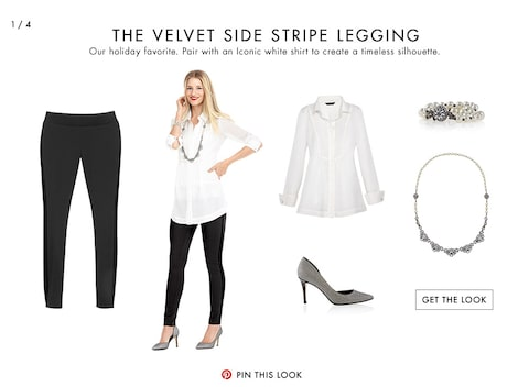 The Velvet Side Stripe Legging | Our holiday favorite. Pair the luxe velvet accents with an Iconic white shirt for timeless style.