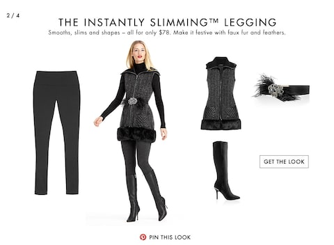 The Instantly Slimming Legging | Smooths, slims and shapes – all for only $78. Make it festive with faux fur and feathers.