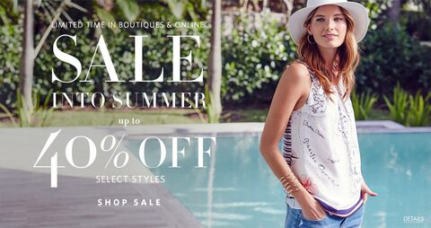 Limited Time in Boutiques and Online. Sale into Summer. Up to 40% Off Select Styles. Shop Sale.