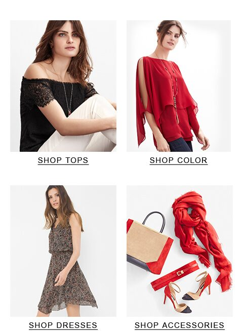 Image with women, top left black lace, top right red top, bottom left light dress, bottom right red accessories