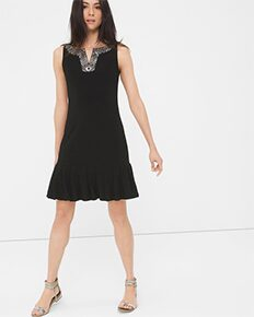 Embellished Pleat-Hem Dress
