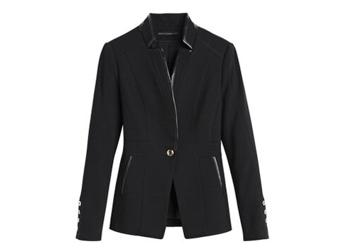Ponte Jacket with Faux Leather Trim