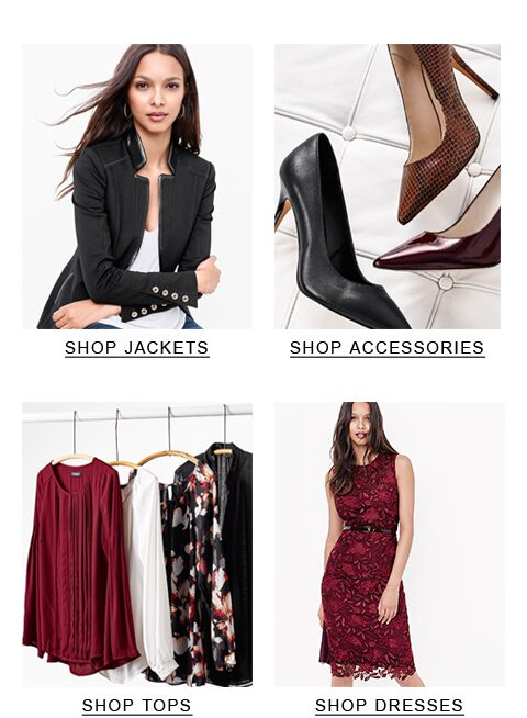 top-left black jacket, top-right shoes, bottom-left tops, bottom-right dresses