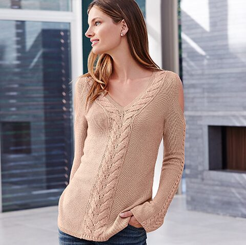 Braided cold shoulder sweater