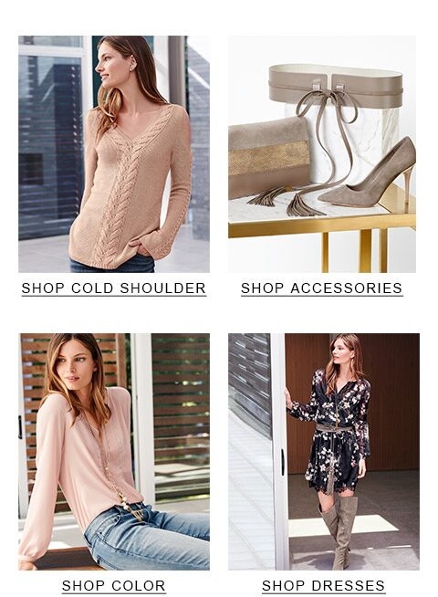 top-left Braided cold shoulder sweater, top-right Accessories, bottom-left Tops, bottom-right dresses