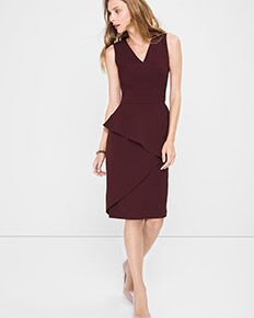Asymmetric-Peplum Sheath Dress