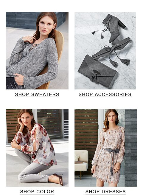 top-left Sweaters, top-right Accessories, bottom-left Tops, bottom-right Dresses