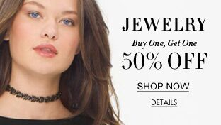 Jewelry. Buy one get one 50% Off. Shop Now. details.