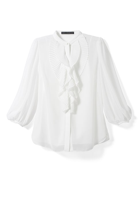 Pleated-Ruffle Blouse