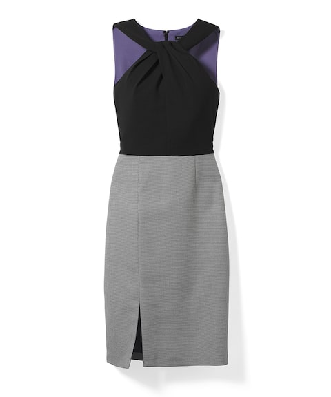 Mixed-Media Suiting Sheath Dress